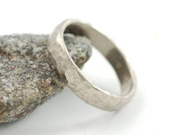 Triple Hammered Wedding Ring - 5mm 14k Palladium White Gold Hammered Wedding Band - made to order commitment ring in recycled metal