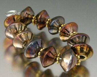 Lampwork Bead Bicones by Killerbeedz1 - Metallica (12) Handmade Beads