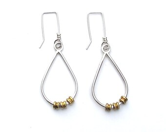 Broken String Earrings - sterling silver and brass