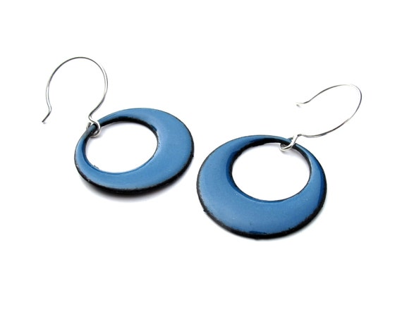 Enameled Mod Circle Earrings - Large - Your choice of colors