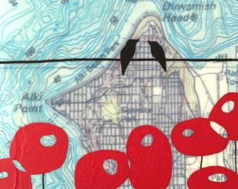 Alki Point / 5 x 5 Map Painting / Washington Art / Map Art / Modern Decor / Bird Art / Seattle / Modern Poppy / Wedding Gift / RAA