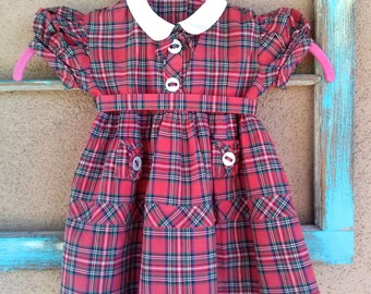 Vintage 1950s Baby Dress Scottish Plaid Holiday Toddler 3T