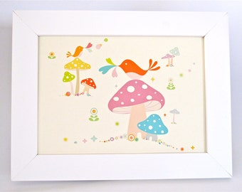 Framed Birdies & Mushrooms Print