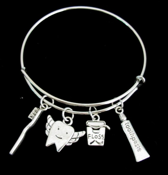 Dentist Bangle Bracelet, Dental Expandable Bangle Bracelet, Dental Charms Dentist Jewelry, Dentist Gift, Dental Hygienist, Free Shipping USA