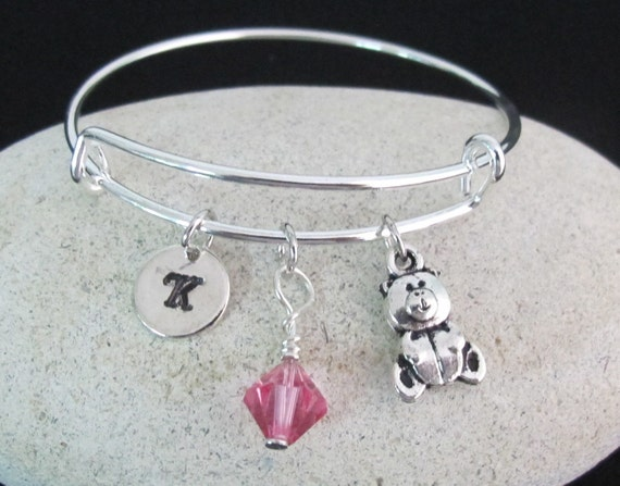 Teddy Bear Bangle Bracelet, Teddy Bear Expandable Bangle Bracelet, CuteTeddy Bear Charm Bangle with Birthstone & Initial, Free Shipping USA