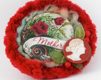 Mothers' Day Brooch - Mothers Red Floral