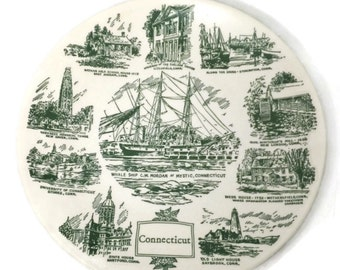 Vintage Connecticut Plate - State Souvenir,  Collectible Ceramic Plate, Green White, Lith O Sketch