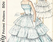 Simplicity 2131 - Vintage 1950s Tiered Ruffled FLOUNCE EVENING DRESS - Sewing Pattern - Size 12 - 32 Bust