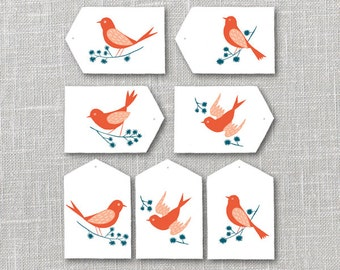 Bright Birds Gift Tags Printable Instant Download PDF