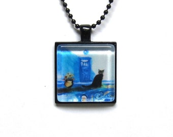 Black cat Santorini Greek Island Greece painting Art Glass Tile Pendant Necklace