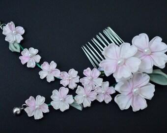 Spring Cherry Blossom Kanzashi. Pink hair pin hand dyed. sakura tsumami zaiku. Customizable wedding fascinator.