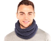 Blue cowl, Chunky knit scarf, Hand knitted winter scarf, Tube scarf, Gift for husband, blue winter scarf, Merino Wool Scarf