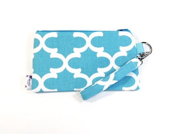 Wrist Purse / Wristlet Clutch / Cell Phone Wristlet - Blue Fulton
