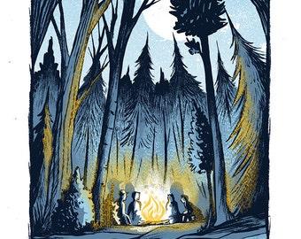 Campfire Conversations - Mini Art Print