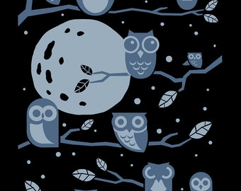 Night Owls - Screenprinted Art Print