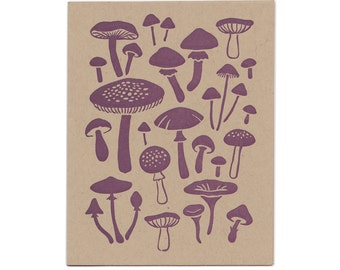 Mushroom letterpress greeting cards, set of five cards, blank inside, Maine made, nature, fungi, fungus, hand-printed, woodland, recycled
