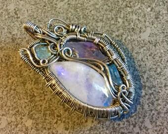 4 Stone Moonstone Amethyst Aquamarine Labradorite & Silver Wire Wrapped Pendant Necklace