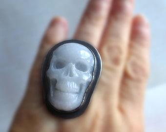 Gemstone Big Skull Ring, White Statement Skull Ring, Obsidian Skull Ring, Halloween Gothic Death's Head Ring, Spooky Grim Reaper Ring