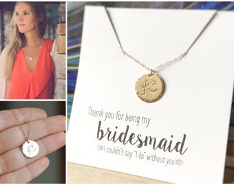 Bridesmaid Thank you Gifts, Personalized Bridesmaid Necklaces, Bridesmaid Gift, Friendship Necklaces, Gold Initial Necklace, Large Letter