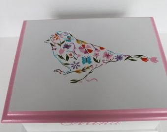 CUSTOM order for Chris - Baby keepsake box - Floral Bird PINKS & GRAYS Baby Keepsake Memory Box
