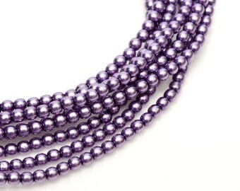 2mm Deep Lilac Czech Round Glass Pearls Beads 50 pcs