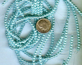3mm Elegant Aqua Blue Glass Pearls 140 pcs