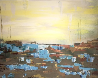 Large abstract landscape painting original 24 x 36 blue yellow brown modern abstract art acrylic and concrete painting CarrieRyanArt