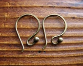 Antiqued Brass Ball Tipped Ear Wires - 1 pair
