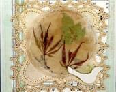 Tea bag art, pressed flower art, collage art, country decor, encaustic art, farmhouse decor, dried flowers art