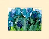 Alcohol ink painting blue flowers semi abstract small work of art