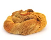 Yellow handdyed yarn, BFL silk laceweight hand dyed Perran Yarns Fields of Gold bluefaced leicester variegated wool skein, uk seller