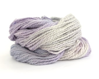 Chunky baby alpaca yarn, lilac purple silver grey hand dyed bulky knitting crochet wool, Perran Yarns Fairy Dust, uk seller, yarn skein hank