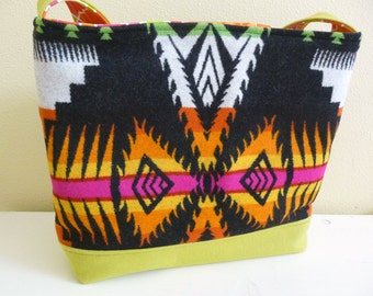 Tribal Wool Tote Bag, Bright Bold Colorful Shoulder Bag