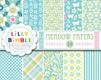 60% off Blue and Yellow digital papers with modern floral designs, butterflies, vines in pale pinks, green, teal and yellow Digital Download