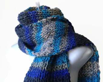 Knit Scarf Turquoise Grey Blue Black Ombre Stripe Scarf, Vegan Men Women Teen FELIX Ready to Ship - Autumn, Winter Fashion