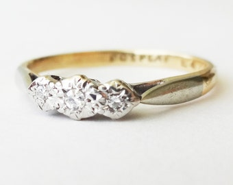 Art Deco Diamond Trilogy Ring, Vintage 9k Gold, Platinum and Diamond Engagement Ring Approx. Size US 6 / 6.25