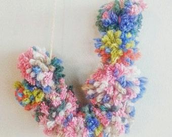 Long Necklace- Pom Poms- Kid's Necklace- Jewelry for Children- Boho Necklace- Bohemian Jewelry- Kid's Room- Pom Poms Necklace- Room Decor