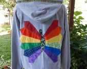 Upcycled Zip Up Hoodie Gray Rainbow Butterfly hoodie OOAK Size L Patchwork  Hippie clothes, boho chic, patchwork hoodie, rainbow butterfly