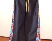 Fun Flowers & Paisleys Black All Corduroy Wide Leg Pants Festival Pants bell bottoms Hippie patchwork pants,womens pants, up 2 plus size