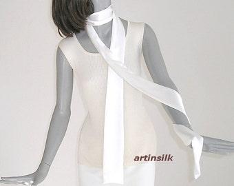 Sheer White Belt, Skinny Silk Scarf, Narrow Sash Tie, Wedding Bridal Sash, Artisan Handmade, Bridal Formal Sash, White Cummerbund, Artinsilk
