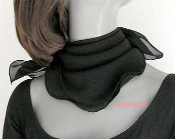 "Black Small Scarf, Chiffon Square, Sheer Black Scarf, Neck Scarflette, Natural 100% Silk 8mm, 19X19 20X20"" 21X21"" 22x22"", ready to ship."