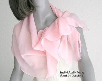 Pink Shoulder Scarf, Silk Chiffon Wrap Coverup Luminous Carnation Pink Pure Silk Chiffon, Hand Dyed One of a Kind, Artisan Made, Artinsilk