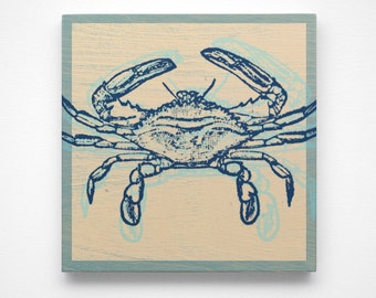 Coastal Art- Atlantic Blue Crab Art Block- Coastal Gifts- Beach Gifts- Crab Prints for Bathroom- Beach Decor- Beach Art- Blue Crab Decor