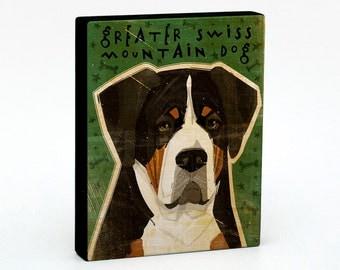 "Husband Gifts- Dog Gifts for Dog Lovers- Greater Swiss Mountain Dog Art Block 4"" x 5""- Dog Art Print- Dog Print- Dog Wall Decor- Dog"