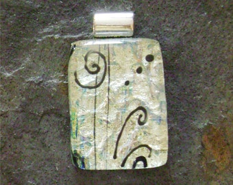 Dichroic Glass Pendant in Silver and Black