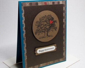 Happy Anniversary tree heart card handmade stamped brown blue masculine greeting paper party supplies