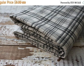 35% OFF CRAZY SALE- Black and White Plaid Fabric-Reclaimed Bed Linen Fabric-