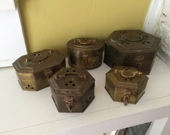 FIVE Brass Altar Chest Boxes / Incense / Trinkets / Potpourri