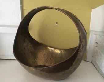 Hammered Brass Basket // Hollywood Regency