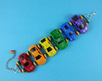 Rainbow Mini Car Bracelet - miniature toy cars, cute kitsch novelty, plastic, repurposed upcycled, Harajuku Decora, unique one of a kind fun